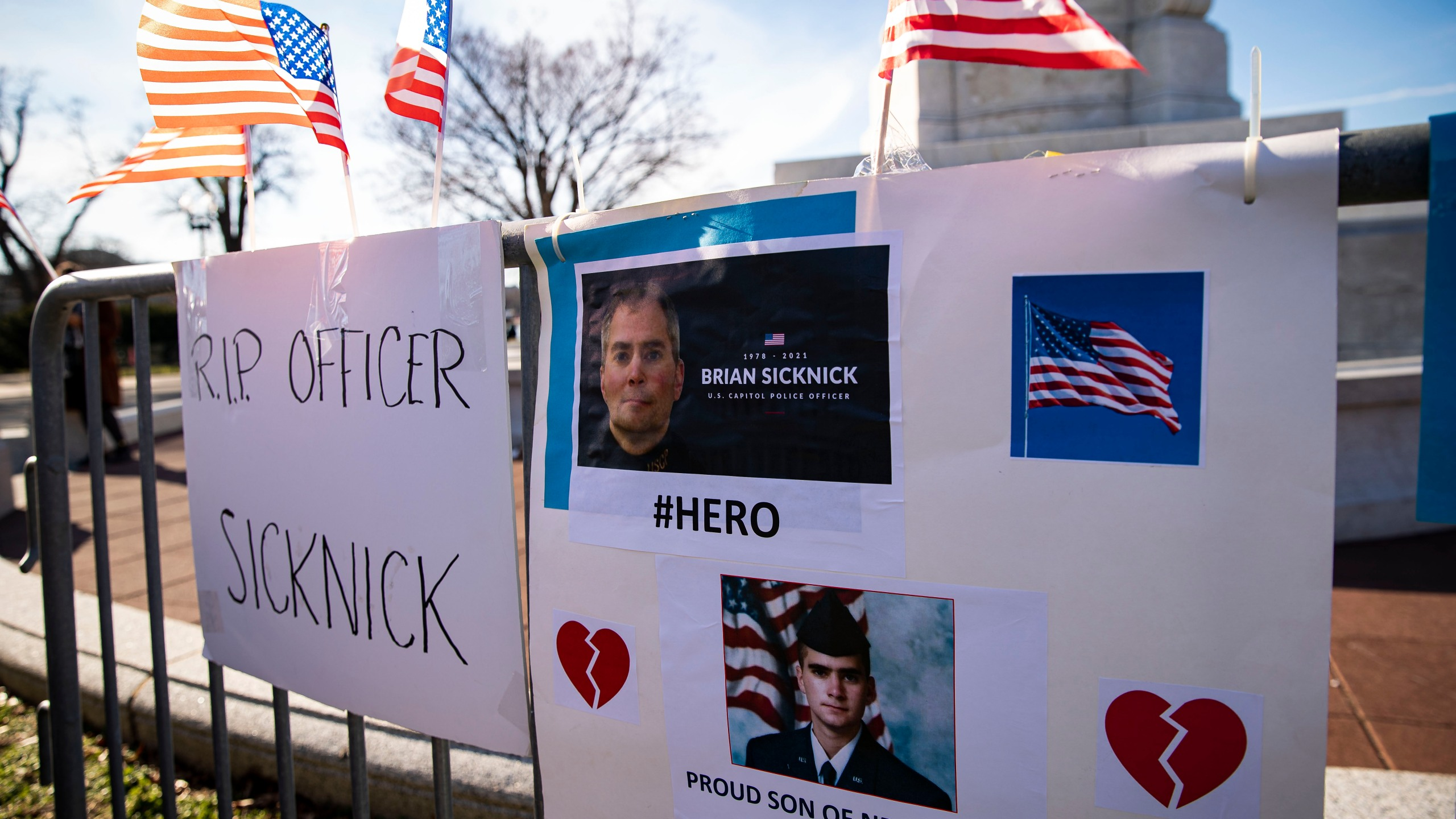 A memorial for Brian Sicknick, the U.S. Capitol Police officer who died from injuries following the siege on the building in early January 2021, is remembered in a memorial near the U.S. Capitol on Jan. 10, 2021 in Washington, D.C. A pro-Trump mob stormed and desecrated the Capitol on Jan. 6 as Congress held a joint session to ratify President-elect Joe Biden's 306-232 Electoral College win over President Donald Trump. (Al Drago/Getty Images)