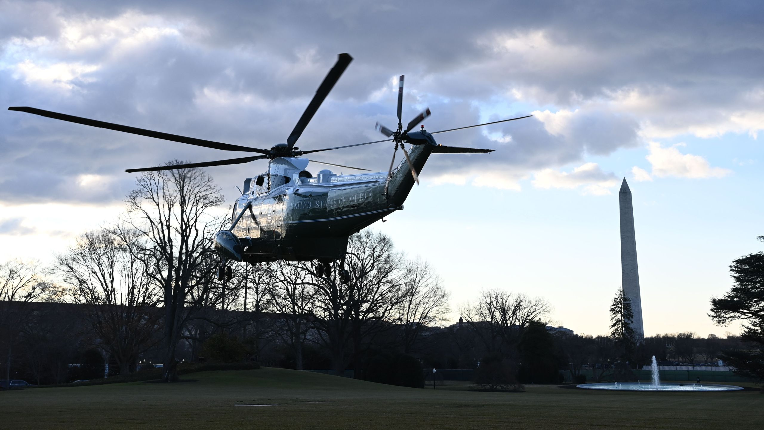 Marine One with US President Donald Trump and First Lady Melania Trump departs the White House in Washington, DC, on January 20, 2021. (MANDEL NGAN/AFP via Getty Images)