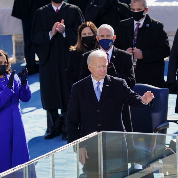 President Joe Biden waves after delivering his inaugural address during the inauguration ceremony on the West Front of the U.S. Capitol on Jan. 20, 2021, in Washington, D.C. (Kevin Dietsch-Pool/Getty Images)