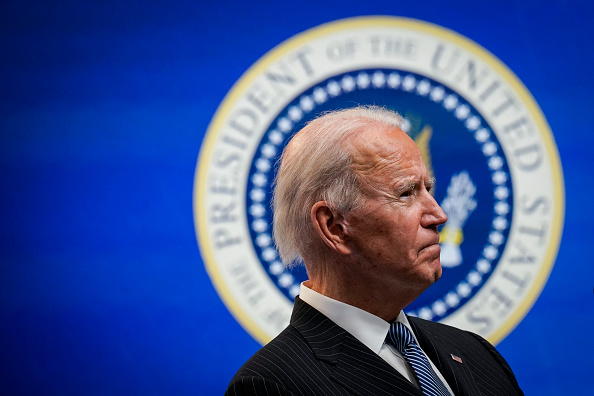 President Joe Biden speaks after signing an executive order related to American manufacturing in the South Court Auditorium of the White House complex on January 25, 2021 in Washington, DC. (Drew Angerer/Getty Images)
