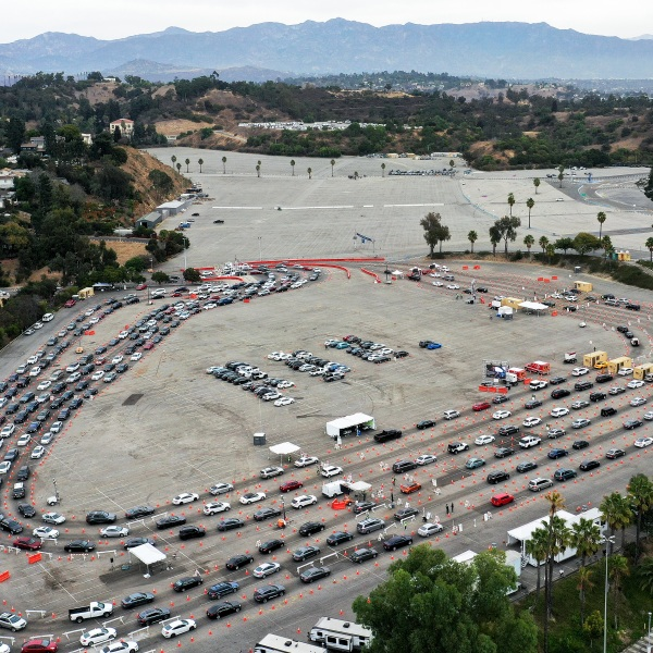 In an aerial view from a drone, vehicles line up to enter a testing site at Dodger Stadium on Dec. 7, 2020 in Los Angeles. (Mario Tama/Getty Images)