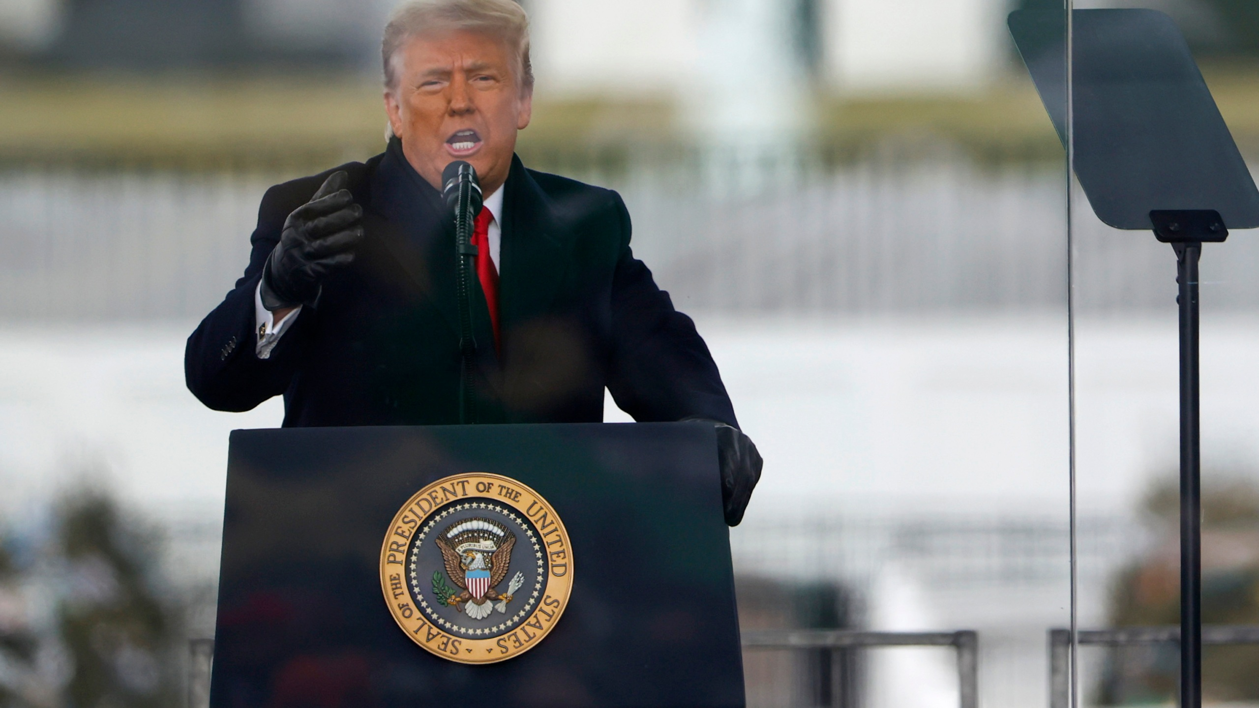 """President Donald Trump speaks at the """"Stop The Steal"""" rally in Washington, DC, on Jan. 6, 2021. (Tasos Katopodis / Getty Images)"""