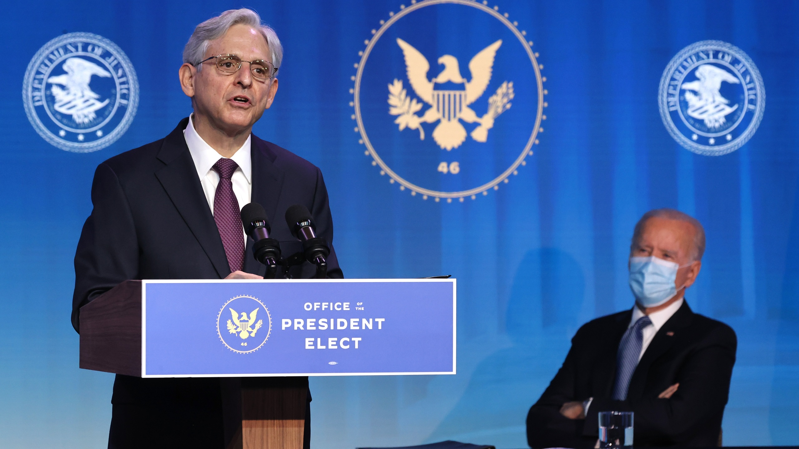 Federal Judge Merrick Garland delivers remarks after being nominated to be U.S. attorney general by President-elect Joe Biden at The Queen theater in Wilmington, Delaware on January 7, 2021. (Chip Somodevilla/Getty Images)