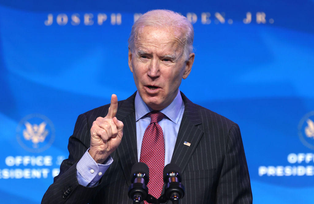 U.S. President-elect Joe Biden delivers remarks after he announced cabinet nominees on Jan. 8, 2021, in Wilmington, Delaware. (Chip Somodevilla/Getty Images)