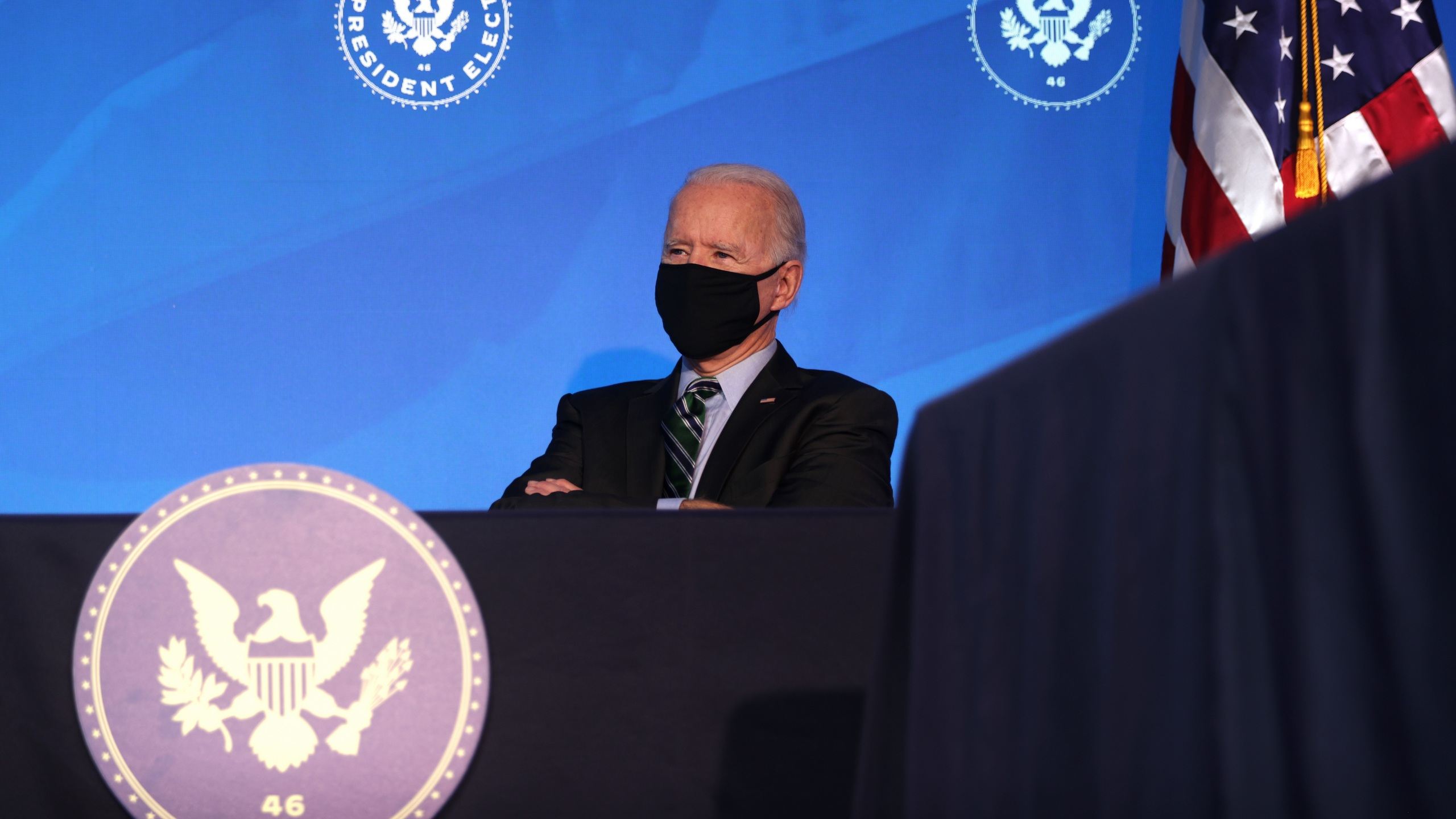 U.S. President-elect Joe Biden listens during an announcement Jan. 16, 2021 at the Queen theater in Wilmington, Delaware. (Alex Wong/Getty Images)