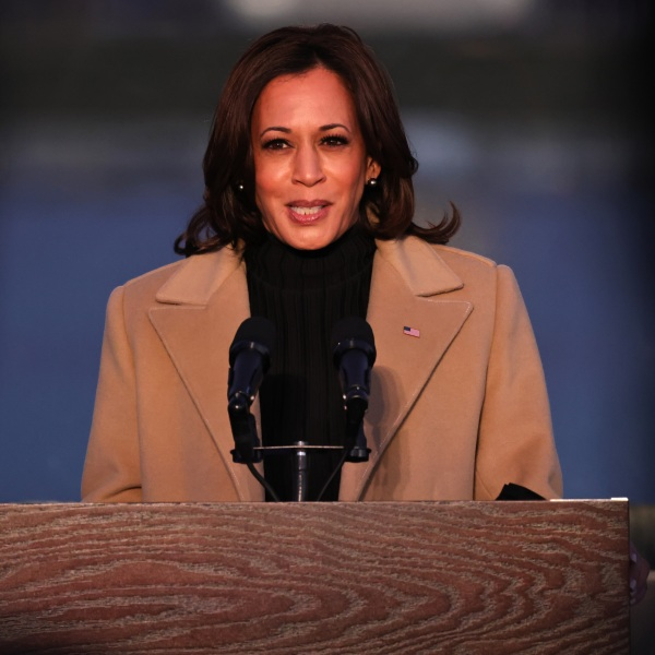 Vice President-elect Kamala Harris speaks at a memorial for victims of the coronavirus pandemic at the Lincoln Memorial on the eve of the presidential inauguration on Jan. 19, 2021, in Washington, DC. (Michael M. Santiago/Getty Images)