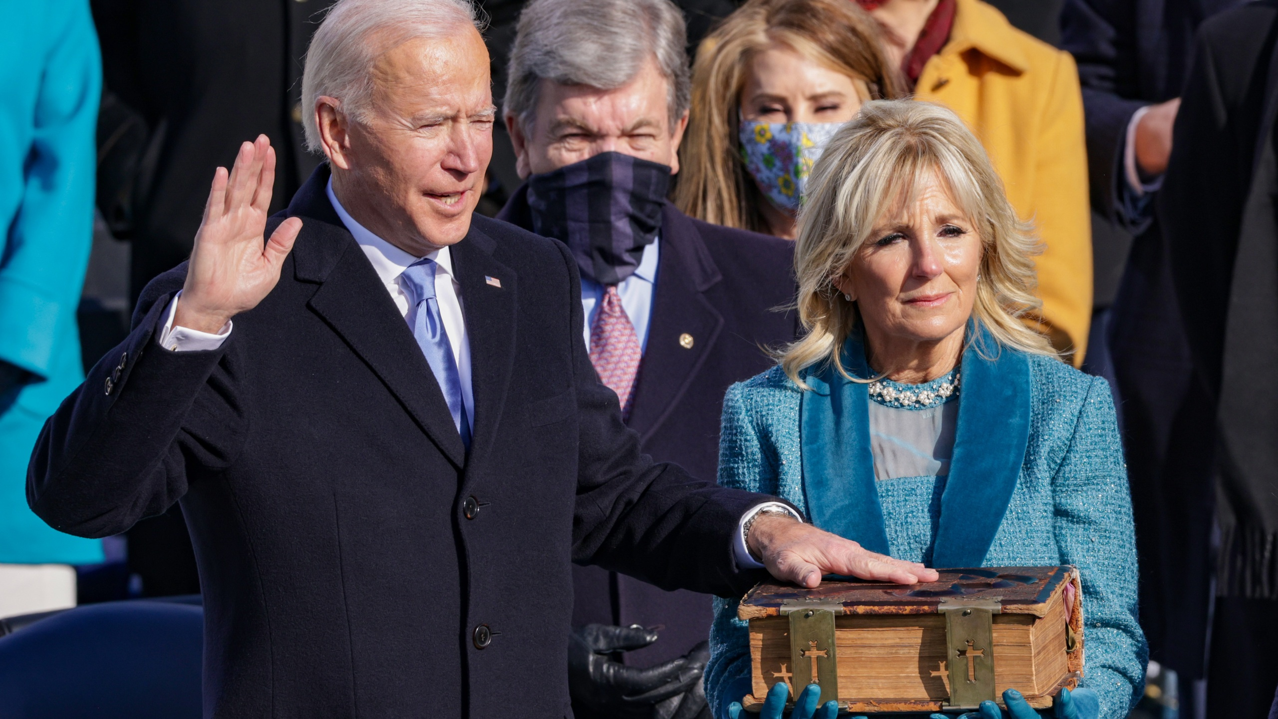 oe Biden is sworn in as U.S. President during his inauguration on the West Front of the U.S. Capitol on January 20, 2021 in Washington, DC. During today's inauguration ceremony Joe Biden becomes the 46th president of the United States. (Photo by Alex Wong/Getty Images)