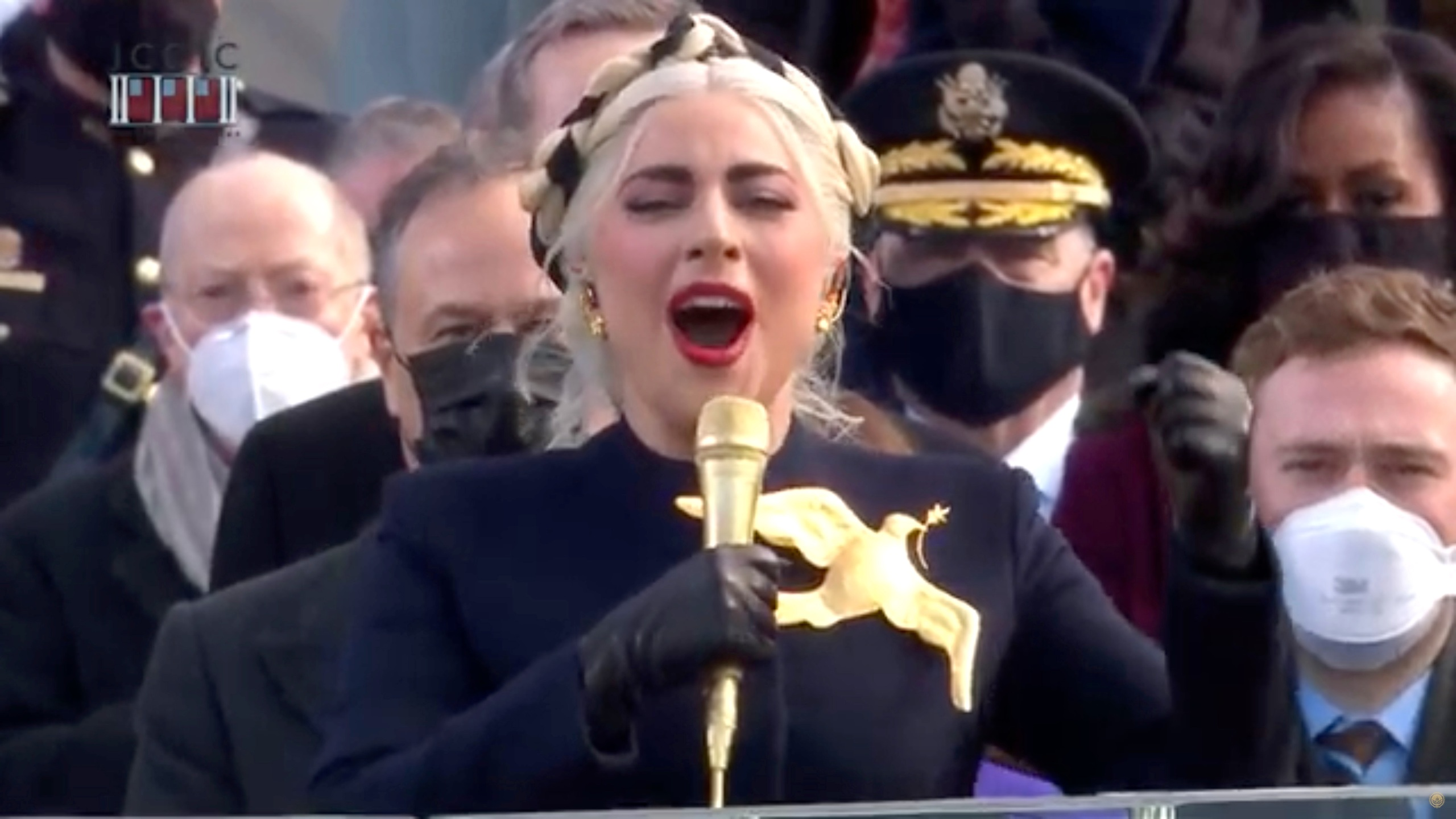 In this screengrab, Lady Gaga sings the National Anthem at the inauguration of U.S. President-elect Joe Biden on the West Front of the U.S. Capitol on January 20, 2021 in Washington, DC. (Handout/Biden Inaugural Committee via Getty Images )