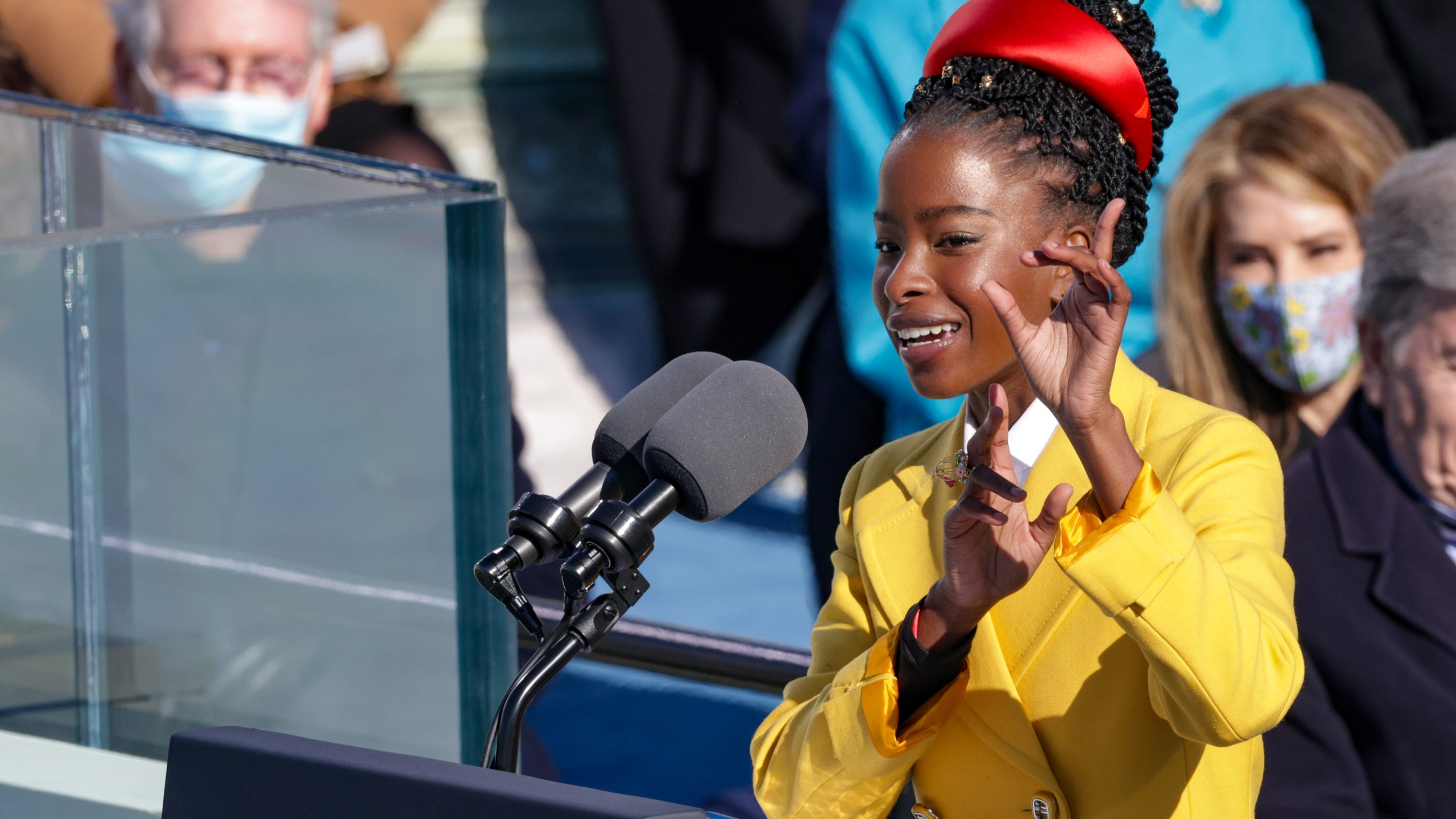 Youth Poet Laureate Amanda Gorman of L.A. speaks at the inauguration of U.S. President Joe Biden on the West Front of the U.S. Capitol on Jan. 20, 2021 in Washington, DC. (Photo by Alex Wong/Getty Images)
