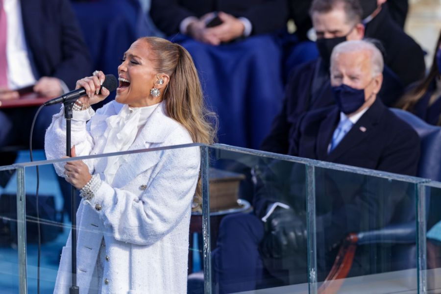Jennifer Lopez sings during the inauguration of U.S. President-elect Joe Biden on the West Front of the U.S. Capitol on January 20, 2021 in Washington, DC.  During today's inauguration ceremony Joe Biden becomes the 46th president of the United States. (Alex Wong/Getty Images)