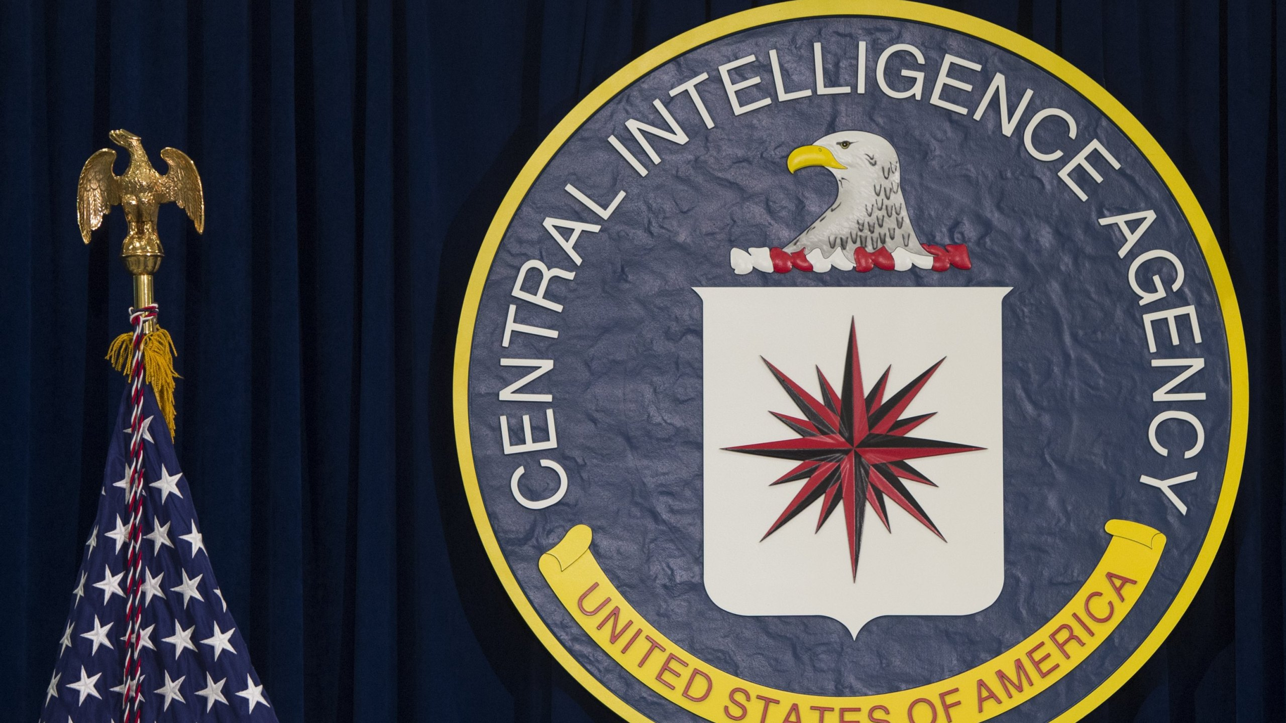 The seal of the Central Intelligence Agency is seen at CIA Headquarters in Langley, Virginia, on April 13, 2016. (SAUL LOEB/AFP via Getty Images)