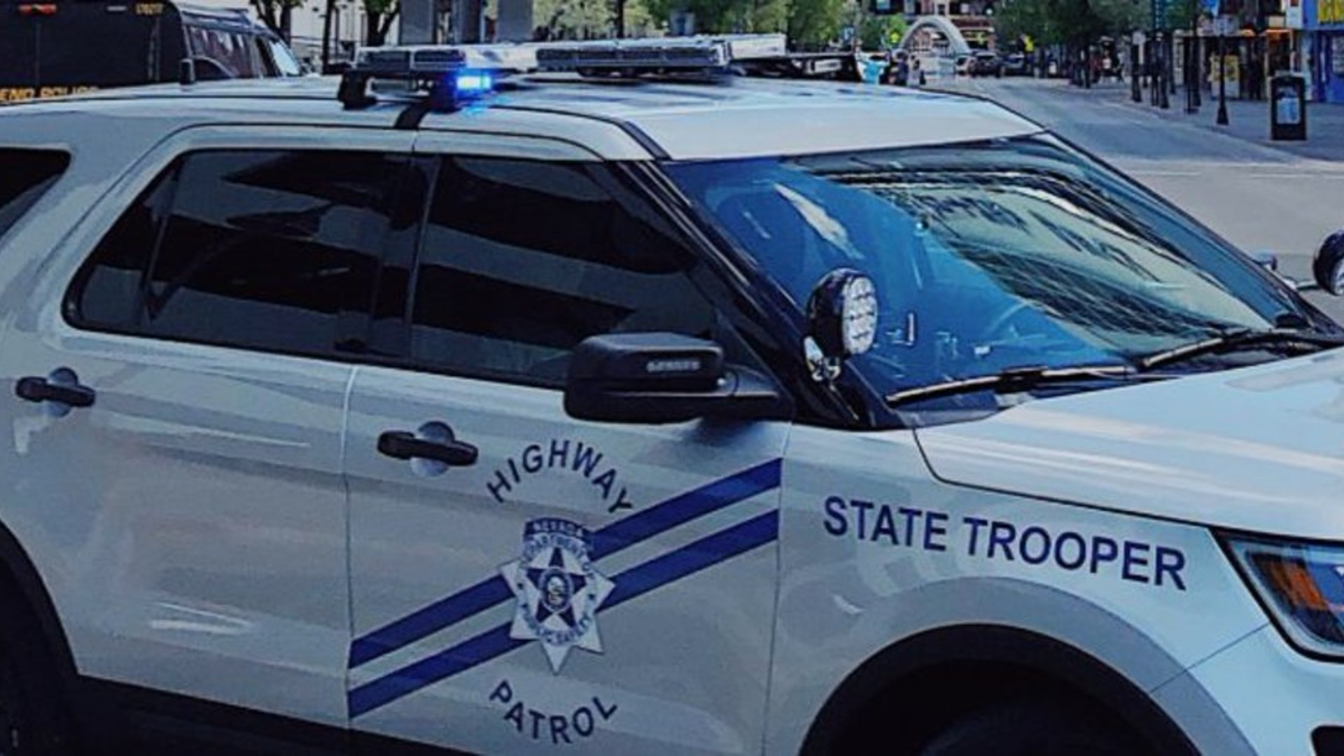A Nevada Highway Patrol vehicle is seen in a photo posted to the agency's Twitter account.