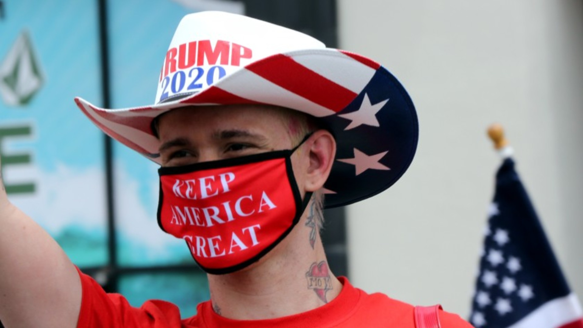 Kristopher Dreww takes part in a demonstration in May in Huntington Beach.(Raul Roa / Los Angeles Times)