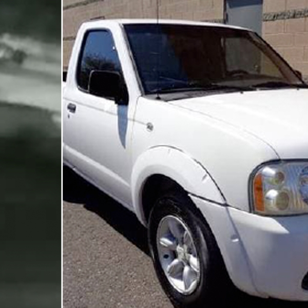 San Bernardino police on Jan. 14, 2021 released a photo of a truck involved in a hit-and-run crash the previous night (left) as well as a photo of a truck similar to the one involved.