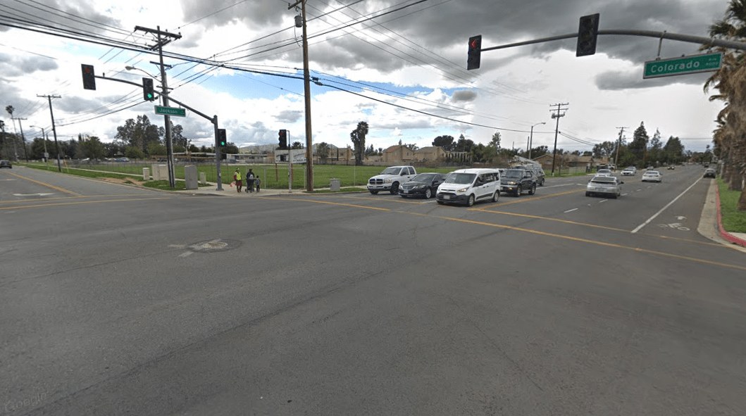 The intersection of Jackson Street and Colorado Avenue in Riverside is shown in a Street View image from Google Maps.