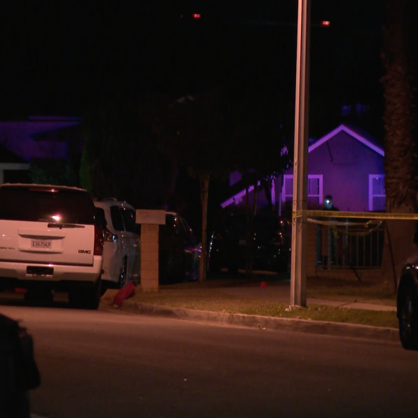 Authorities respond to investigate after two people were found dead at a home in Hacienda Heights on Jan. 11, 2021. (KTLA)