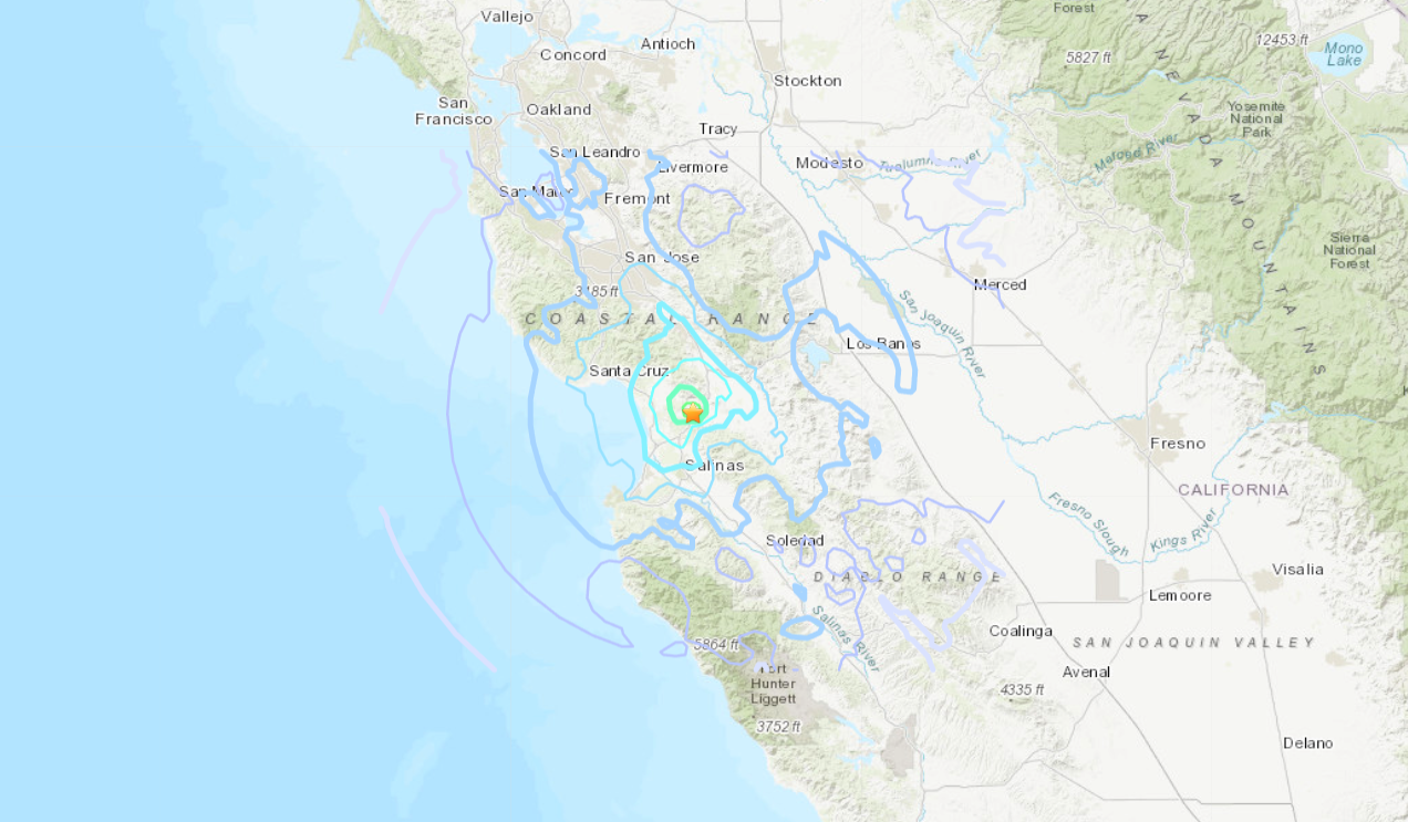 A magnitude 4.2 earthquake that was reported less than a mile from Prunedale on Jan. 16, 2021. (U.S. Geological Survey)