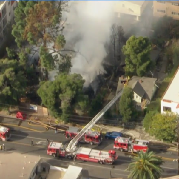 A structure fire in Hollywood on Jan. 22, 2021. (KTLA)