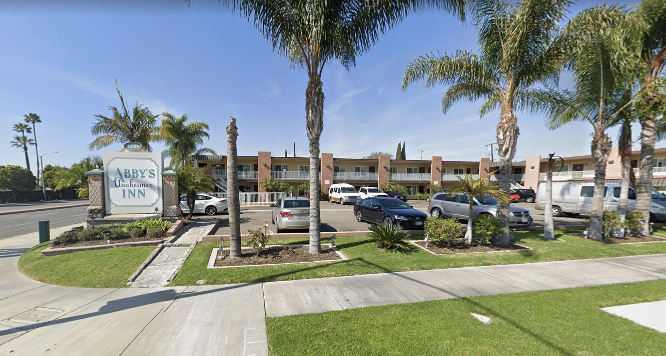 Abby's Anaheimer Inn in Anaheim is shown in a Street View image from Google Maps.