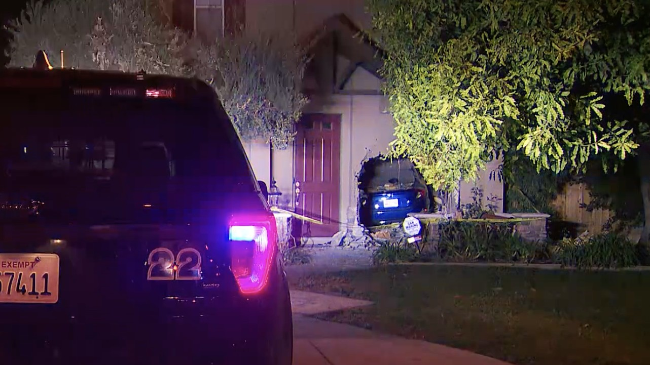 Police are searching for a driver who crashed into a Monrovia home on Jan. 7, 2021. (KTLA)