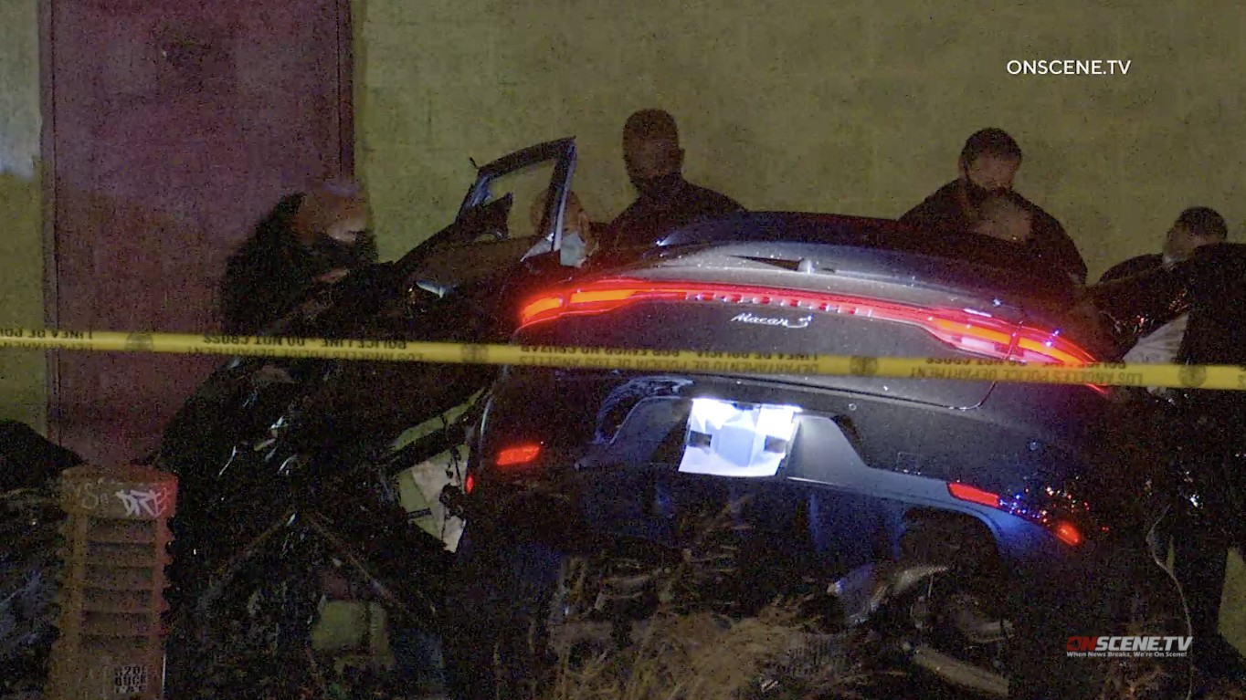 Police investigate a fatal crash in downtown Los Angeles on Jan. 6, 2021. (OnScene.TV)
