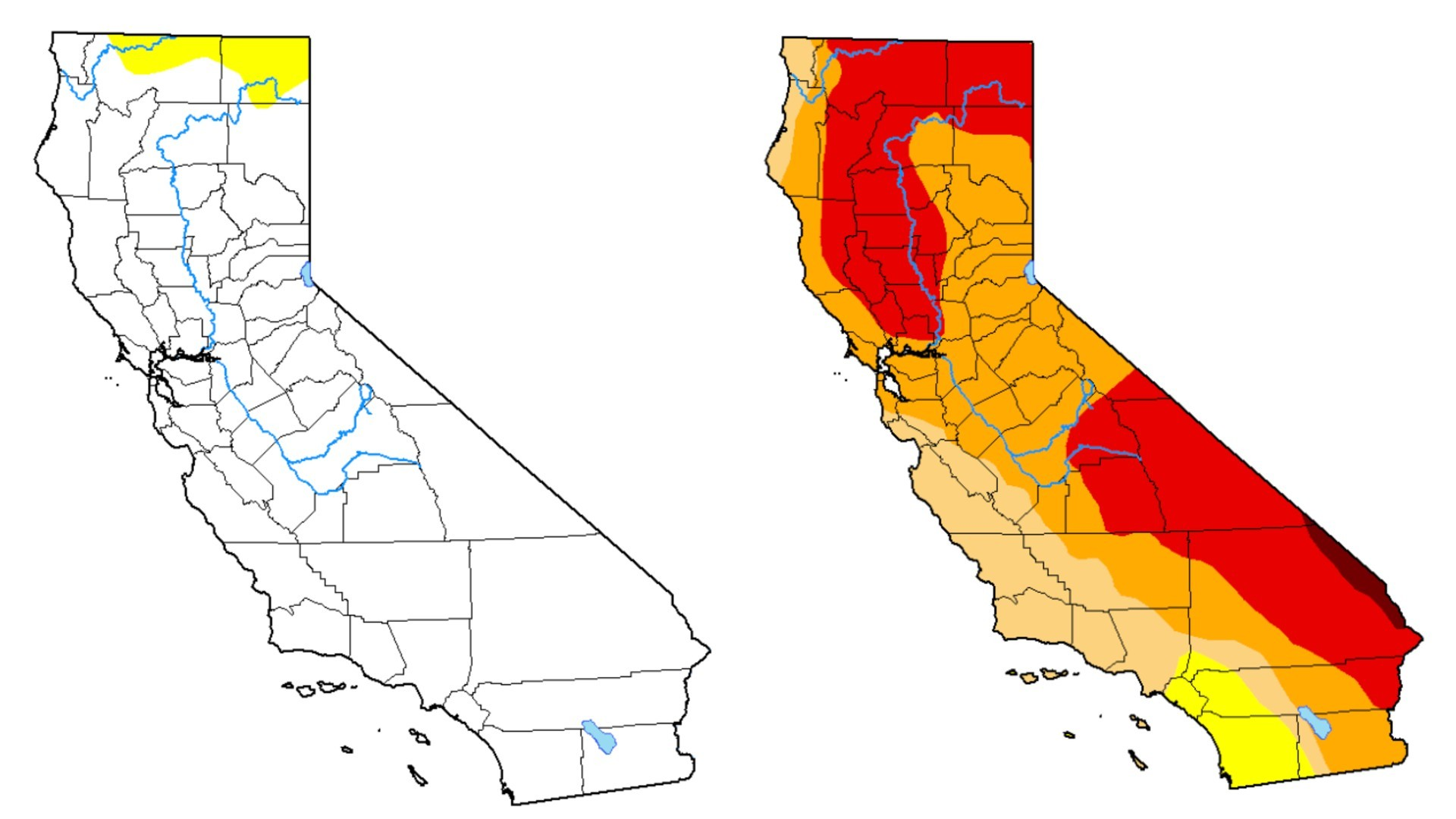 Left: The drought map from Jan. 21, 2020, shows a drought-free California, with only a small percentage of the state experiencing abnormally dry conditions; Right: The drought map from Jan. 19, 2021, shows the majority of California is mired in drought. (U.S. Drought Monitor)