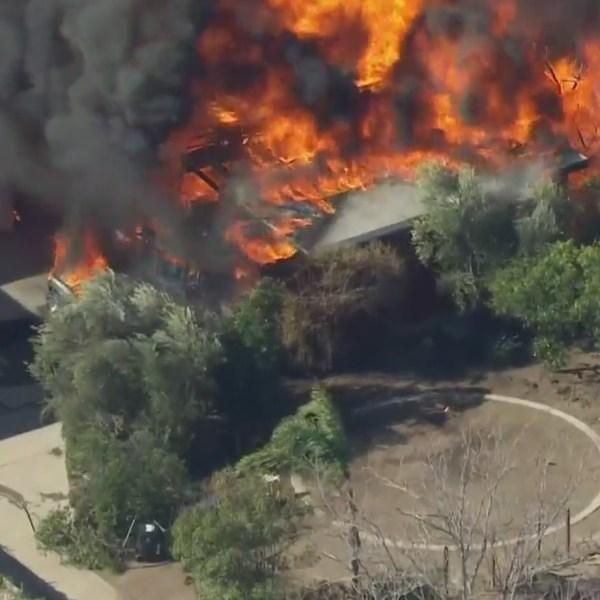 Firefighters respond to a blaze in Sylmar on Jan. 15, 2021. (KTLA)