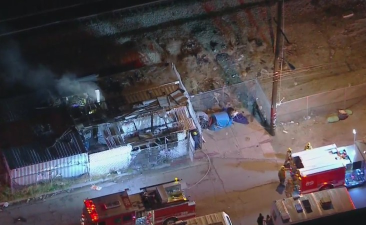 Firefighters respond to a blaze in Sun Valley where authorities discovered a dead body on Jan. 27, 2020. (KTLA)