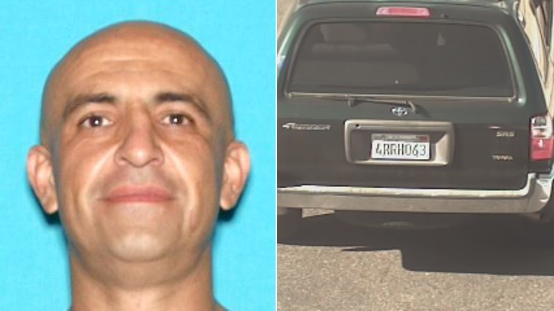 Nelson Fermin Garibay and his suspected getaway vehicle are seen in an undated photos released Jan. 12, 2021, by the Los Angeles County Sheriff's Department.