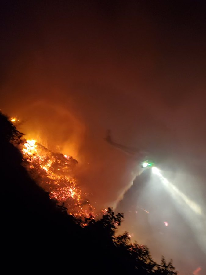 The L.A. County Sheriff's Department's Lost Hills station tweeted this image of a fire in Malibu on Jan. 17, 2021.