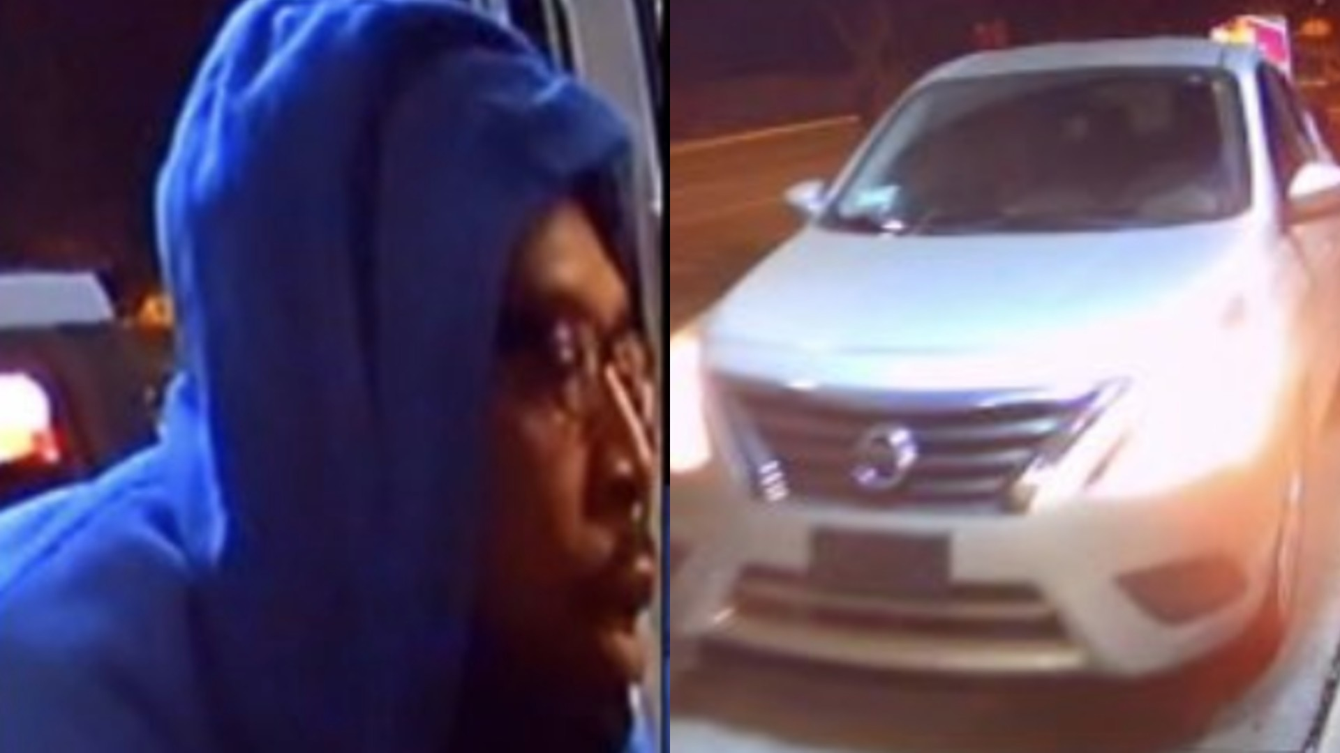 An armed robbery suspect and suspect's vehicle are seen in these images provided by the Los Angeles County Sheriff's Department.