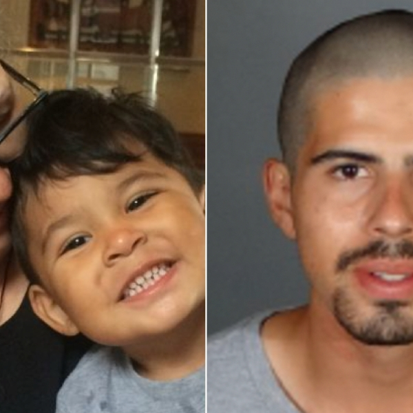 At left, Maria Rodas and her grandson, Alan Cordova-Robles, are seen in an undated photo from a GoFundMe page. At right, David Cordoba is seen in a July 2, 2017, photo released by the Los Angeles Police Department.