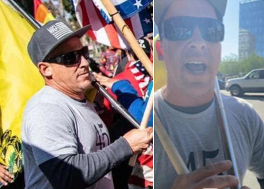 A man identified as a person of interest in a suspected hate crime attack at a pro-Trump protest in downtown Los Angeles on Jan. 6, 2021, is seen in images released by the Los Angeles Police Department.