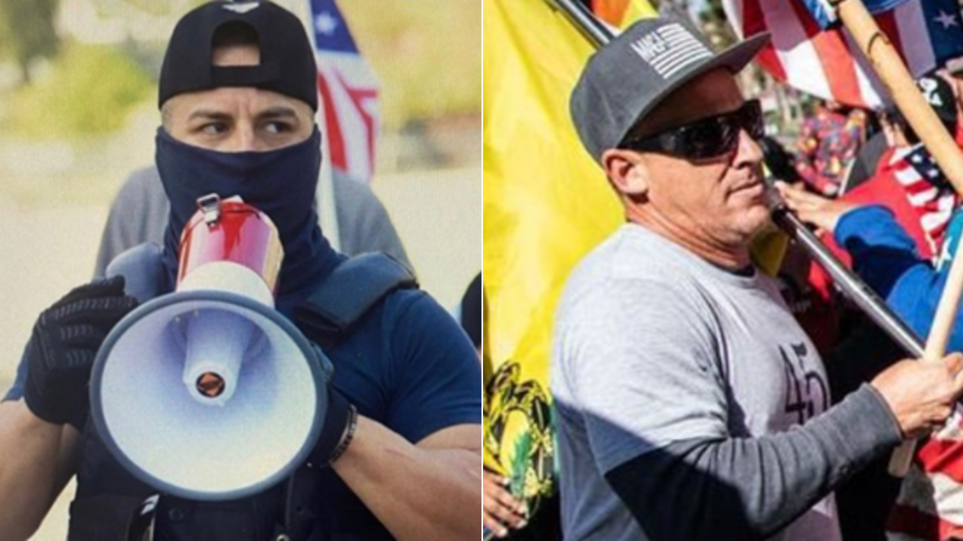 Two men identified as persons of interest in a suspected hate crime attack at a pro-Trump protest in downtown Los Angeles on Jan. 6, 2021, are seen in images released by the Los Angeles Police Department.