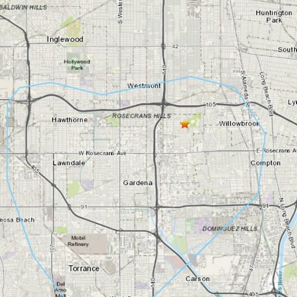 A 3.5 magnitude earthquake struck near Willowbrook on Jan. 20, 2021. (USGS)