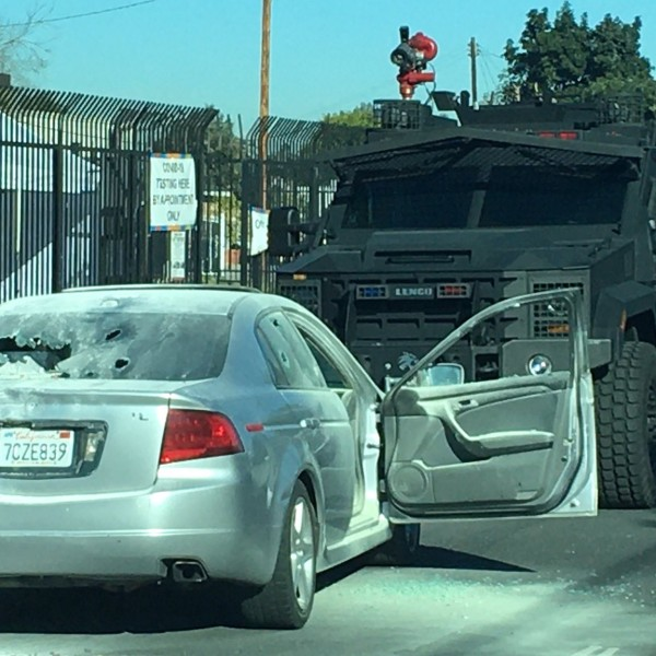 Authorities were involved in a standoff with a pursuit driver in the Paramount area on Jan. 14, 2020. (Los Angeles County Sheriff's Department)