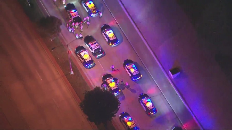 Authorities respond to the termination of a pursuit in the Santa Fe Springs area on Jan. 13, 2021. (KTLA)