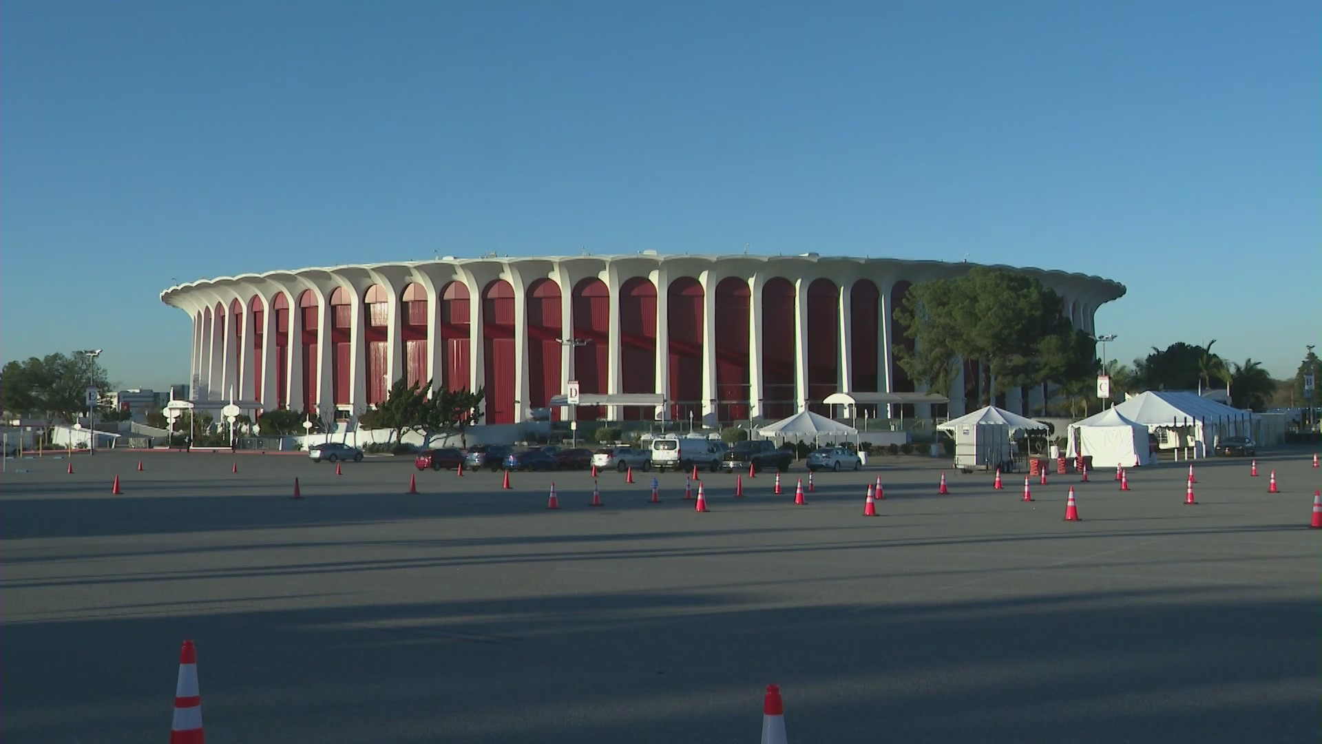 The Forum in Inglewood is seen on Jan. 18, 2021. (KTLA)