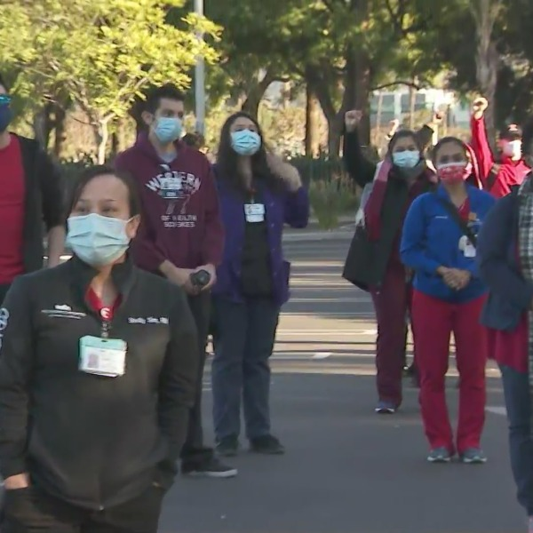 Nurses stage a protest outside the Methodist Hospital of Southern California in Arcadia on Jan. 2, 2021 to demand more staffing.