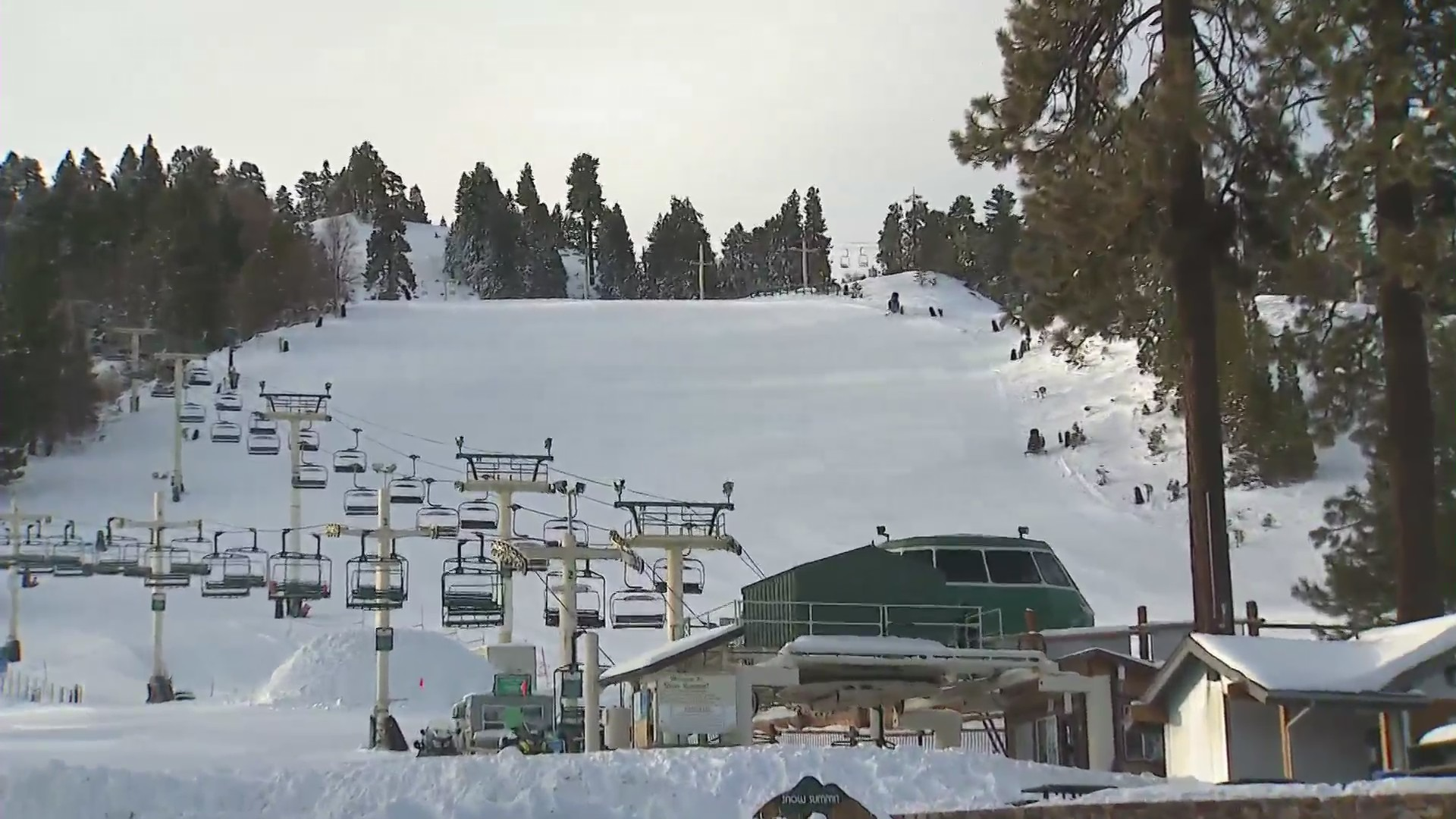 Big Bear Mountain Resort is seen on Jan. 28 as it prepares for another storm to drop several more inches of snow. (KTLA)