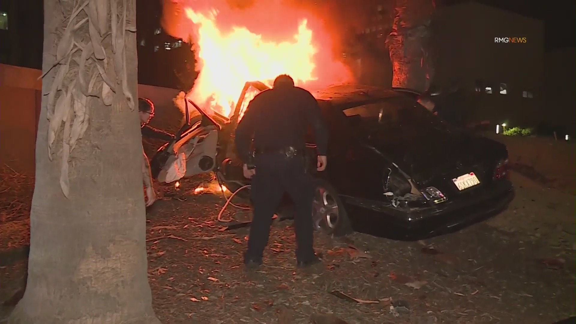 Crews respond to a fiery crash in downtown Los Angeles on Jan. 21, 2021. (RMG News)