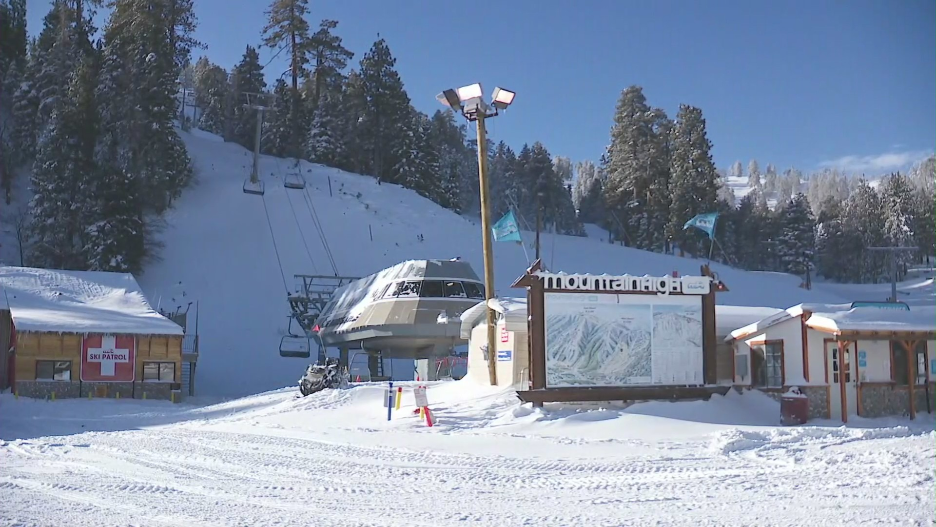 Mountain High resort in Wrightwood is seen on Jan. 25, 2021. (KTLA)