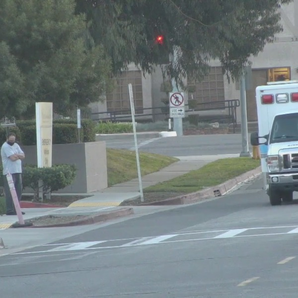 An ambulance arrives at Los Alamitos Medical Center in this file photo. (KTLA)