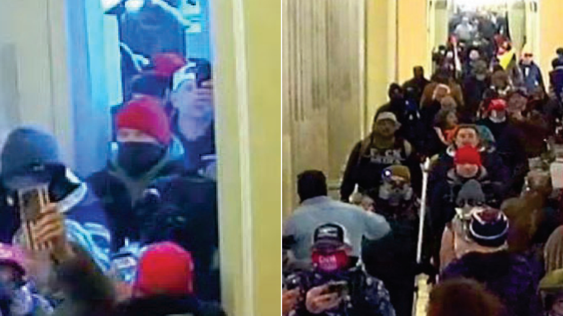 A man who federal agents believe is Victorville gym owner Jacob Lewis, at center in a red beanie, is seen among the crowd storming the U.S. Capitol on Jan. 6, 2021, in stills from video included in a Jan. 22, 2021, criminal complaint for the U.S. Attorney's Office for the Central District of California.