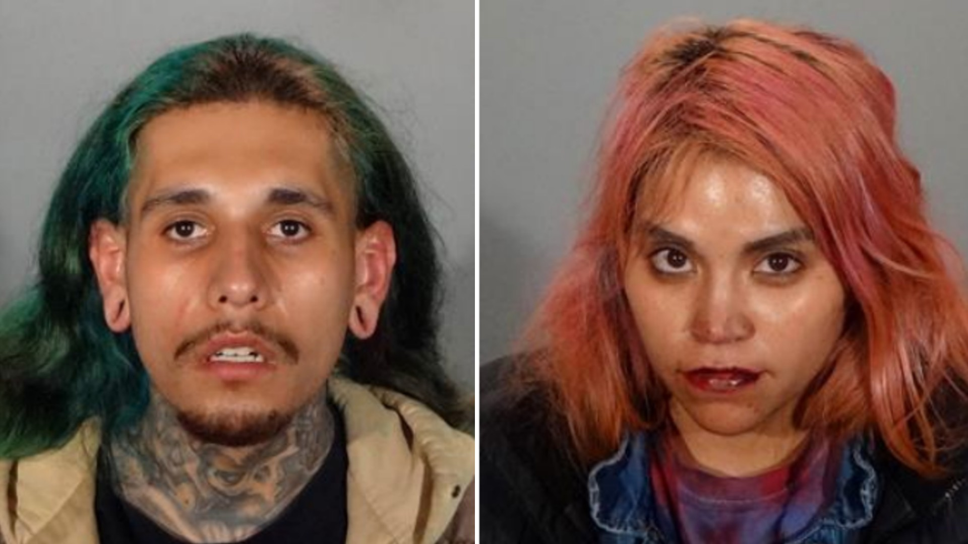 24-year-old Juan Olmos of Winnetka, left, and 30-year-old Stephanie Villasenor of Winnetka, right, are seen in a photo shared by the Glendale Police Department on Feb. 5, 2021.