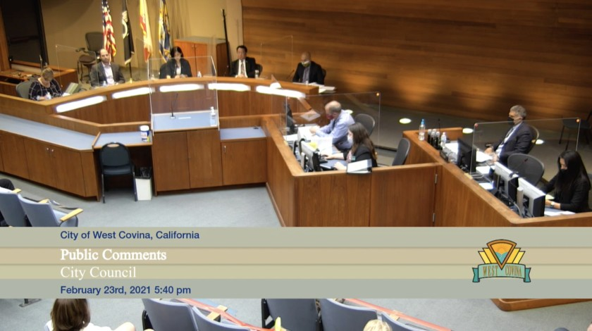 A West Covina City Council meeting on Feb. 23, 2021, is seen in a screen grab from YouTube.