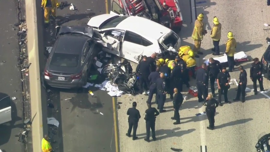 Emergency crews responded to a crash on the 10 Freeway in the Pico Union area on Feb. 11, 2021. (KTLA)