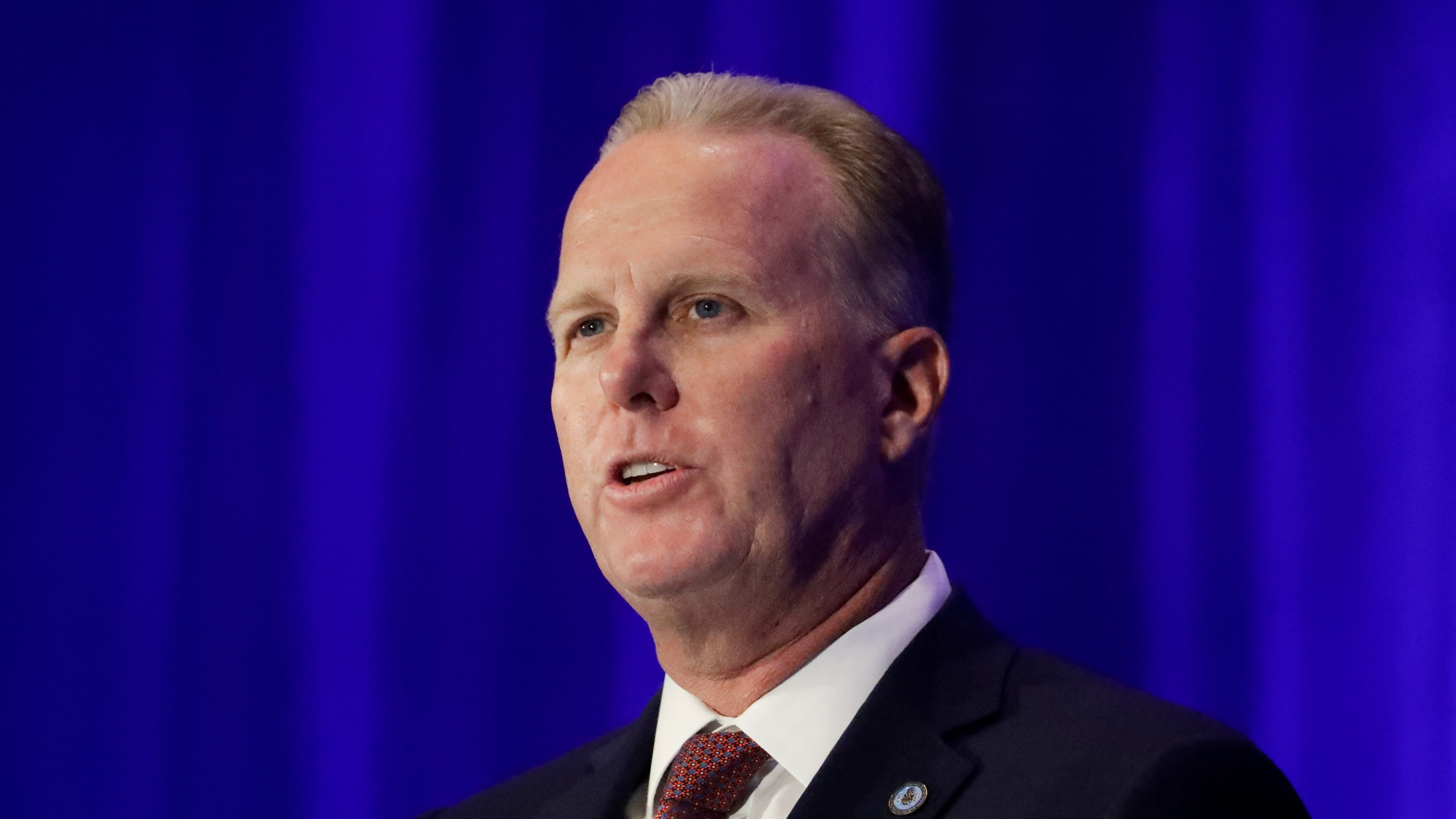 In this Sept. 7, 2019, file photo, San Diego Mayor Kevin Faulconer speaks during the California GOP fall convention in Indian Wells, Calif. (AP Photo/Chris Carlson, File)