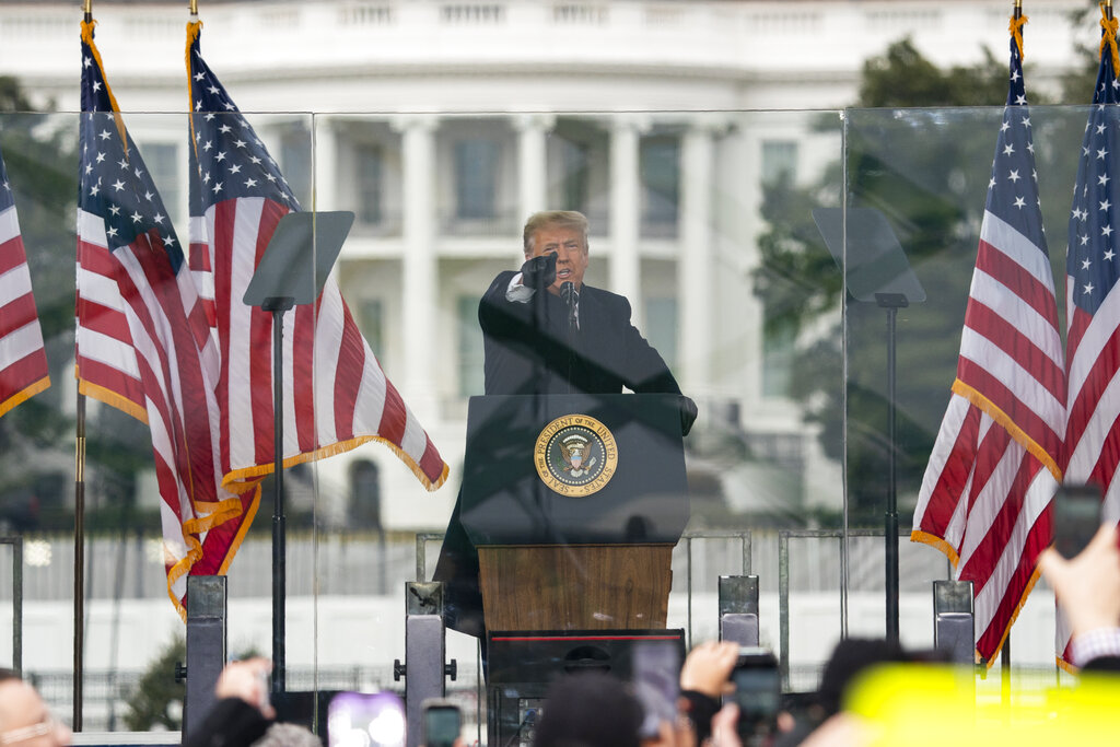 In this Jan. 6, 2021, file photo President Donald Trump speaks during a rally protesting the electoral college certification of Joe Biden as President in Washington. (AP Photo/Evan Vucci, File)