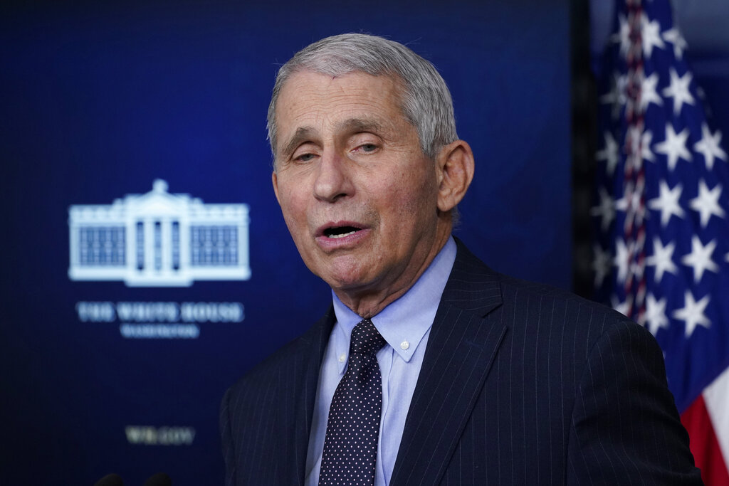 In this Jan. 21, 2021 file photo, Dr. Anthony Fauci, director of the National Institute of Allergy and Infectious Diseases, speaks with reporters in the James Brady Press Briefing Room at the White House in Washington. (AP Photo/Alex Brandon, File)